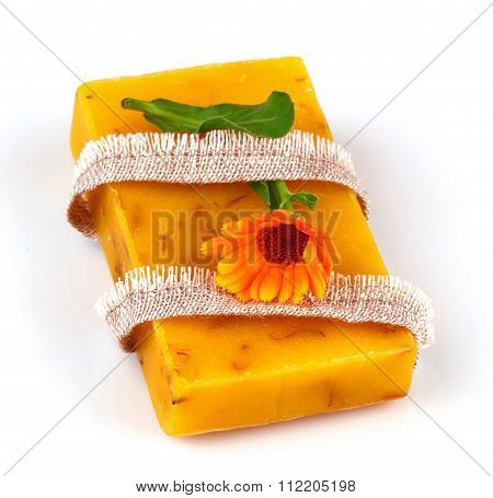 Soap With Flower Marigold And Flax Tie