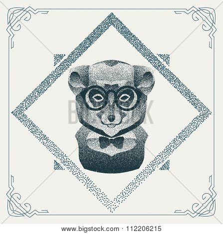 Halftone hipster lemur with black Dots. Vector Illustration.