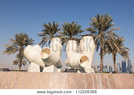 Water Jar Fountain In Doha, Qatar