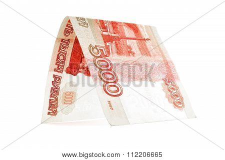 Russian Ruble Investment Building, Rouble Den Isolated On White Background