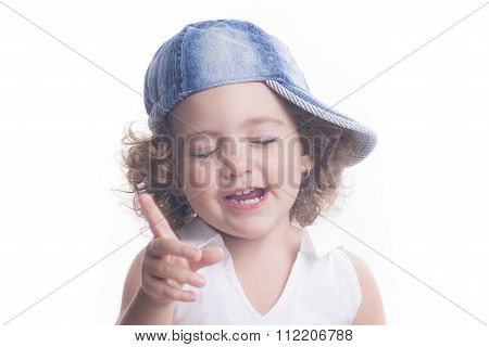 Smiling Child Pointing And Speacking