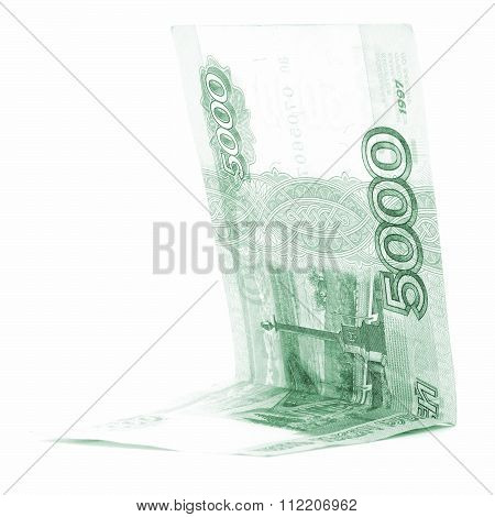 Green Russian Rouble Saving Folded Isolated On White Background