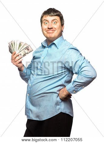 Funny Smiling Man With Money Dollars