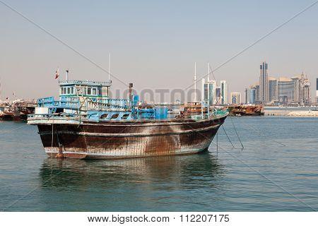 Traditional Dhow In Doha, Qatar