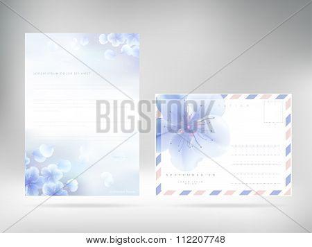 Cover Design Template Letterhead Floral Paper Cover