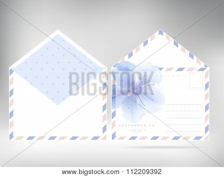 Vector Set For Design. Flower Envelope Two Sides.