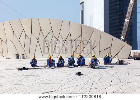 Workers At Qatar National Museum, Doha
