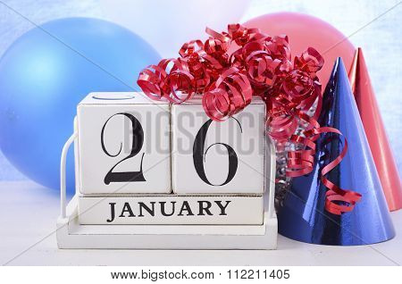Australia Day white block calendar