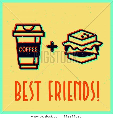 icons of coffee cup and sandwich