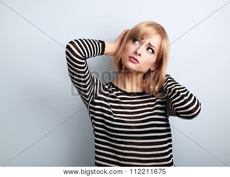 Annoyed Unhappy Thinking Young Woman Looking Up