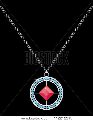 Necklace With Stones And Chain
