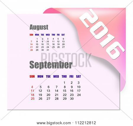 September 2016 calendar with past month series