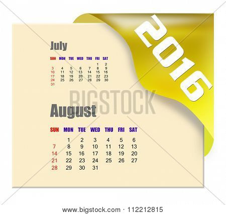 August 2016 calendar with past month series