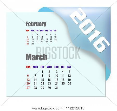 March 2016 calendar with past month series