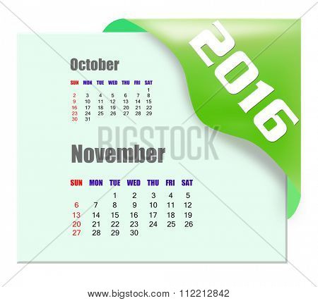 November 2016 calendar with past month series