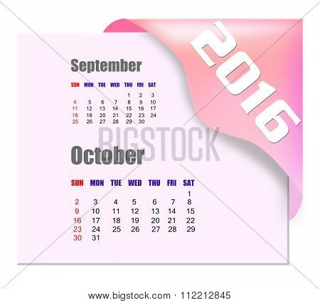 October 2016 calendar with past month series