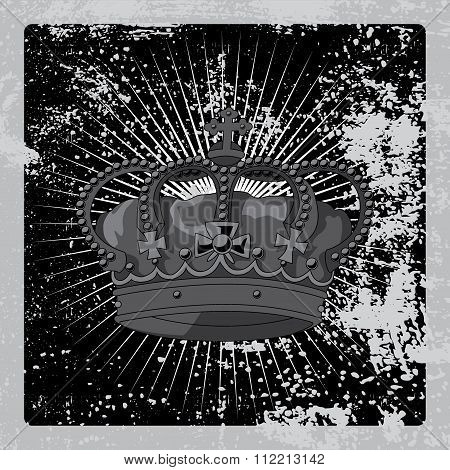 The imperial crown grunge poster. Vector