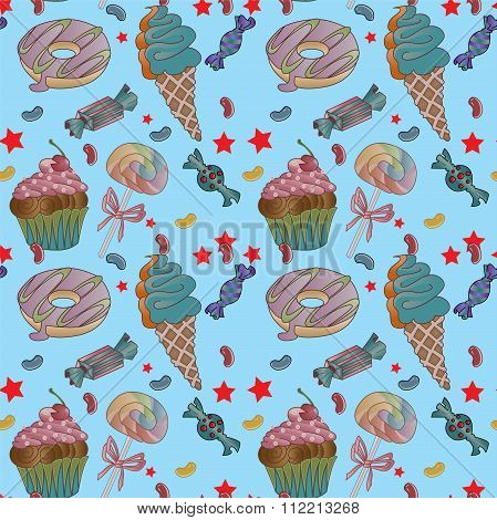 Yummy colorful sweet lollipop candy cupcake donut ice cream pattern