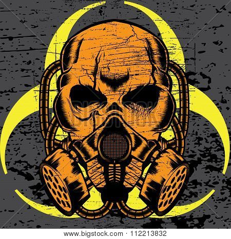 skull wearing a gas mask. vector