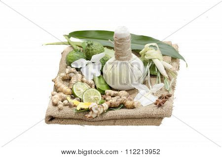 Natural Spa Ingredients . The Herbal Compress Ball And Ingredients For Spa Treatment.