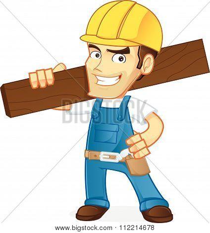 Handyman holding wood plank
