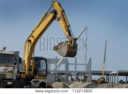 Excavator Working On Building Site