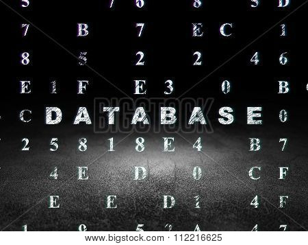 Programming concept: Database in grunge dark room