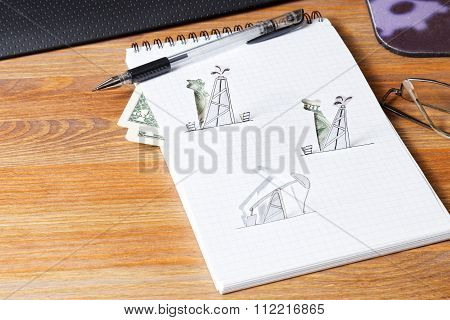 Petroleum Pumpjack And Oil Rigs. Concept.
