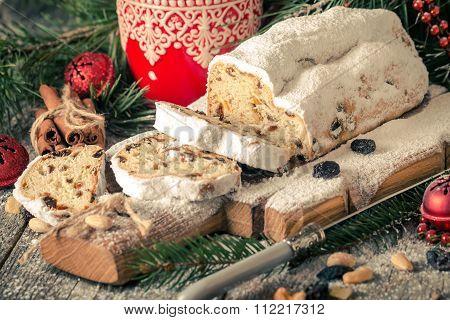 Stollen.traditional German Christmas Cake