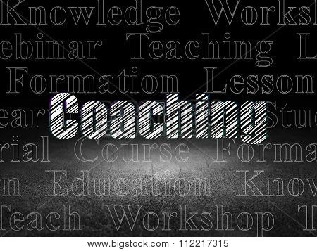 Learning concept: Coaching in grunge dark room