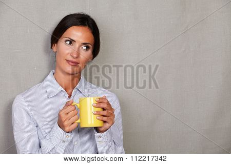 Caucasian Ehtnicity Lady Holding Hot Drink