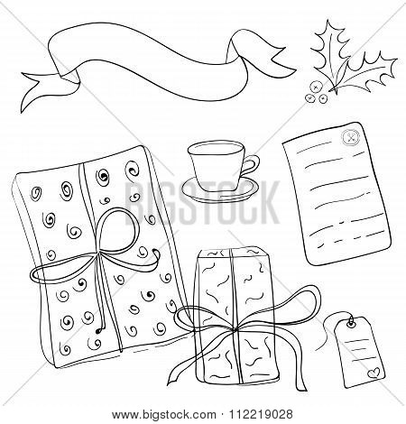 Set Of Vector Sketch Gifts. Hand Drawn Elements For Your Festive Design. Christmas Gifts.