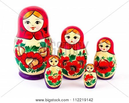 Russian nesting dolls. Babushkas or matryoshkas. Set of 5 pieces