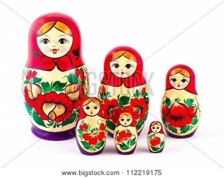Russian nesting dolls. Babushkas or matryoshkas. Set of 6 pieces