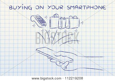 Bags And Pos Coming Out Of Mobile Screen, With Text Buying On Your Smartphone