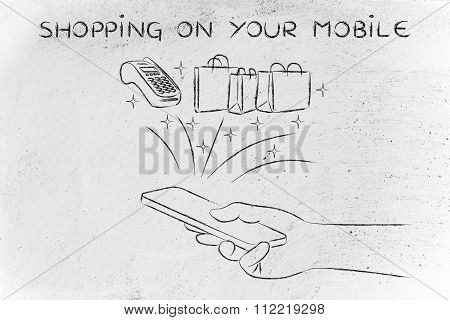 Bags And Pos Coming Out Of Smartphone, With Text Shopping On Your Mobile