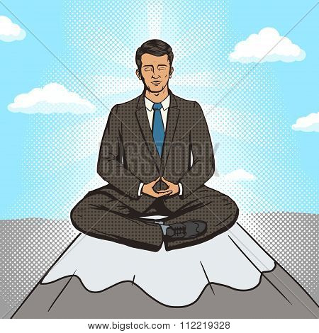 Businessman meditation cartoon pop art style