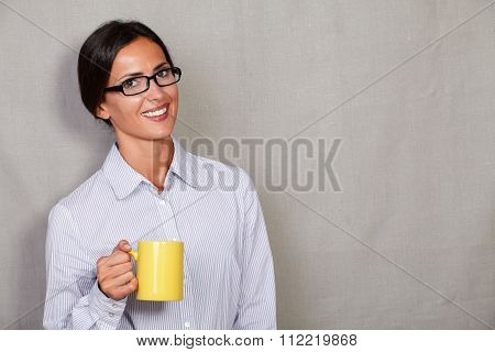 Long Hair Woman With Glasses Holding Coffee