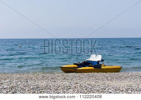 Pedal Boat On Sea Shore