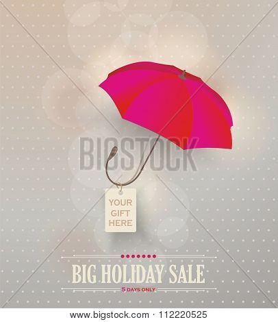 Sale Poster With Classic Elegant Opened Red Umbrella.