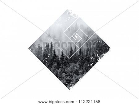 Atmospheric Scenic View of Evergreen Trees Shrouded in Heavy Mist in Polygon Border with Geometric Line Overlay on White Background with Copy Space