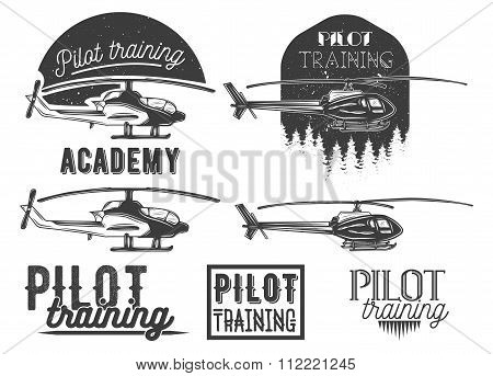 Vector set of helicopter school emblem, label, logo and design elements. Pilot academy isolated icon