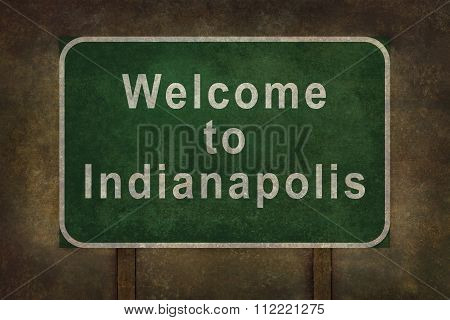 Welcome To Indianapolis Roadside Sign Illustration