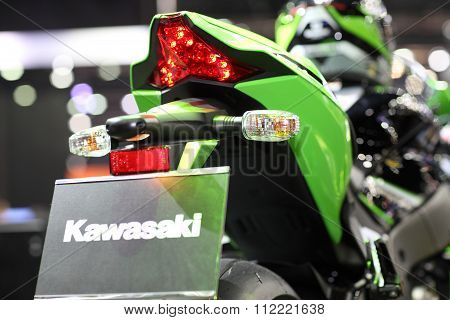 Bangkok - December 11 : Zoom Back Of Kawasaki Ninja Motorcycle On Display At The Motor Expo 2015 On