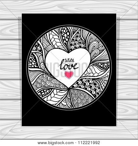 Zentangl  Heart Ok  Template with Zen-doodle style pattern and heart frame black and white