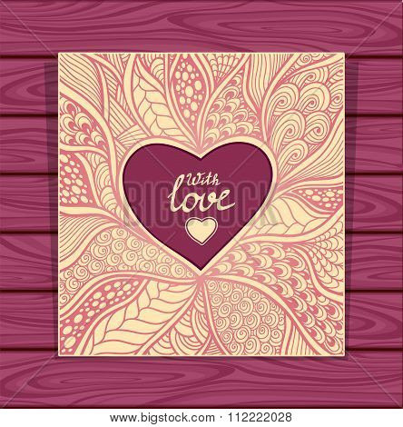Template with Zen-doodle style pattern and heart frame beige lilac