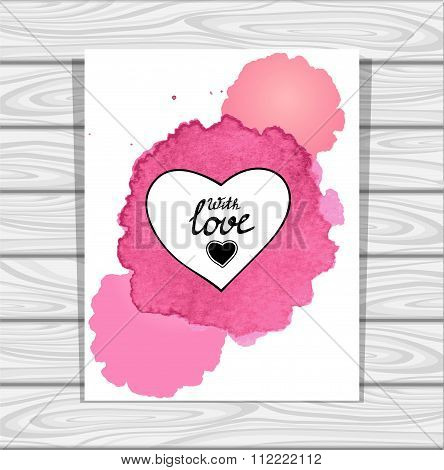 Template heart frame in pink lilac white  watercolors stain on grey wood background