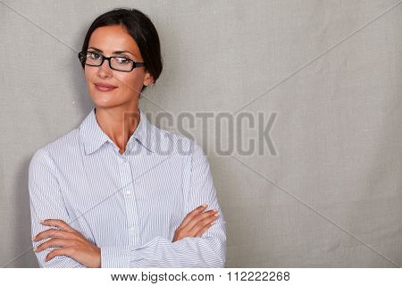 Straight Hair Lady Smiling With Arms Crossed