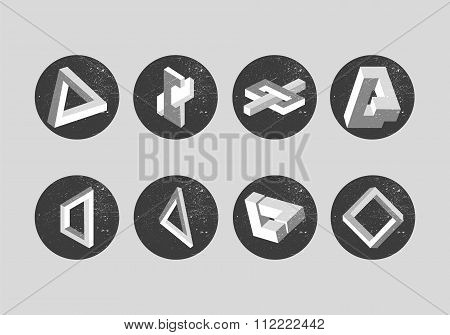 Vector set of impossible objects. Geometric shapes, labels. Penrose triangle and optical illusions.