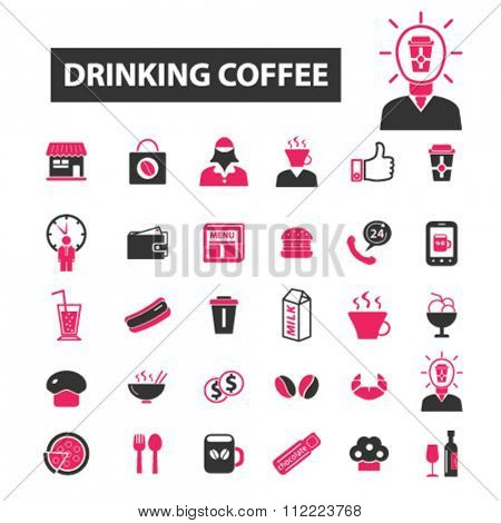 drinking coffee, cafe logo, cafe, cafeteria, icons, signs, set.